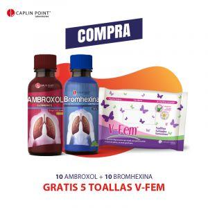 Combo PPC 10 Ambroxol + 10 Bromhexina + 5 Toallas V-Fem